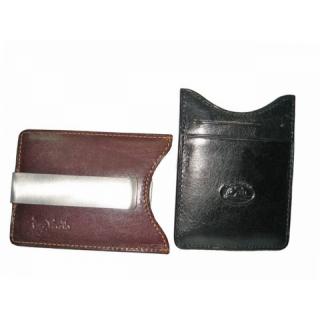 Кожаная кредитница-портмоне с зажимом для денег