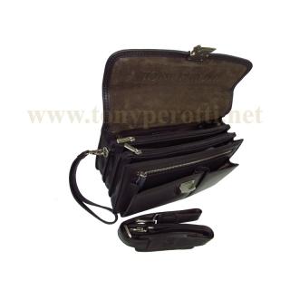 Брендовая кожаная барсетка АРТ: 7106-Ct